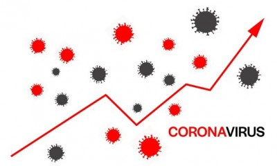 Arrow moving up indicates increase in coronavirus cases and possible second wave of infections during winter vector illustration